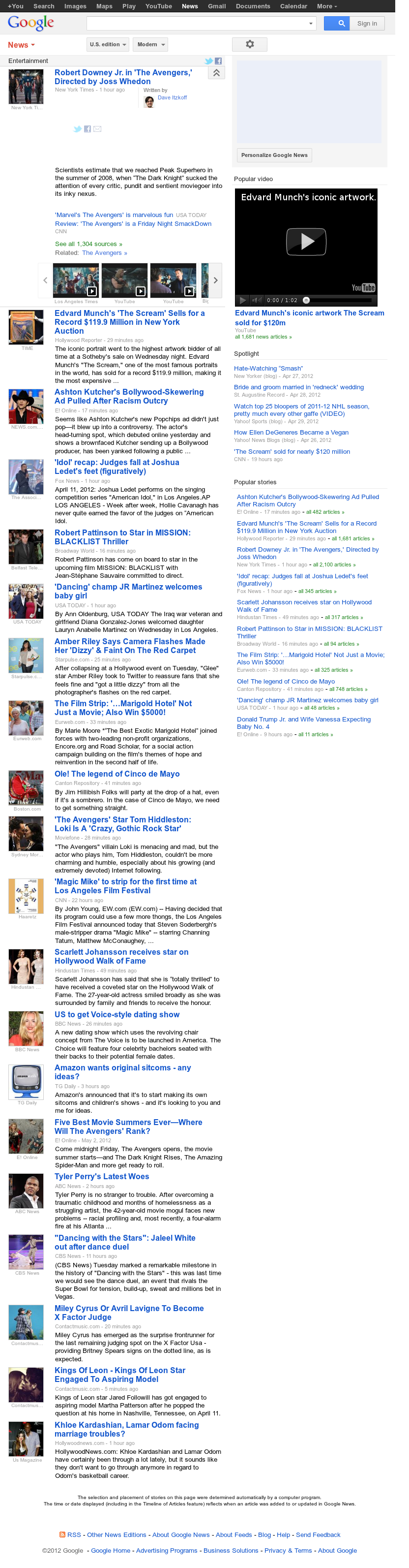 Google News: Entertainment at Thursday May 3, 2012, 1:06 p.m. UTC