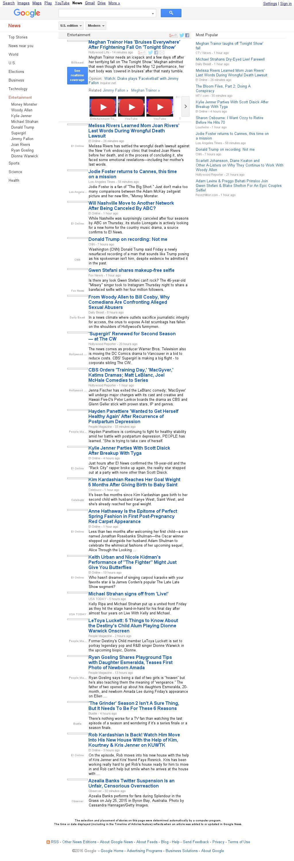 Google News: Entertainment at Friday May 13, 2016, 7:07 p.m. UTC