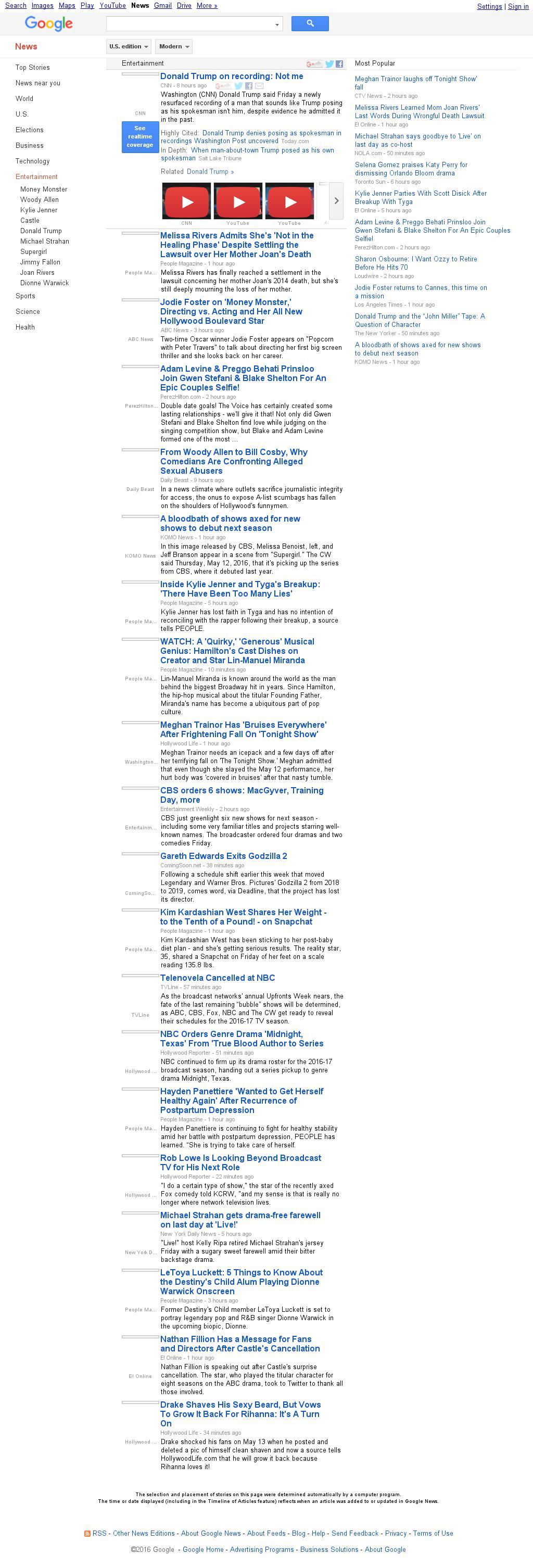 Google News: Entertainment at Friday May 13, 2016, 8:07 p.m. UTC