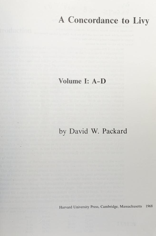 A concordance to Livy by David W. Packard