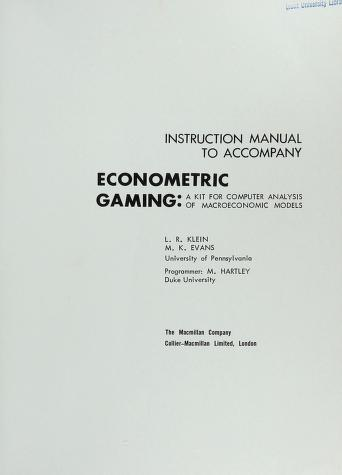 Cover of: Econometric gaming | Lawrence Robert Klein