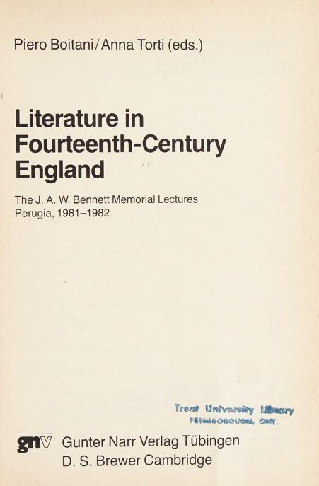 Literature in fourteenth-century England by Piero Boitani, Anna Torti (eds.)