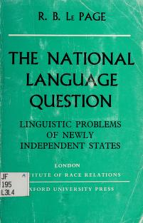 Cover of: The national language question | R. B. Le Page